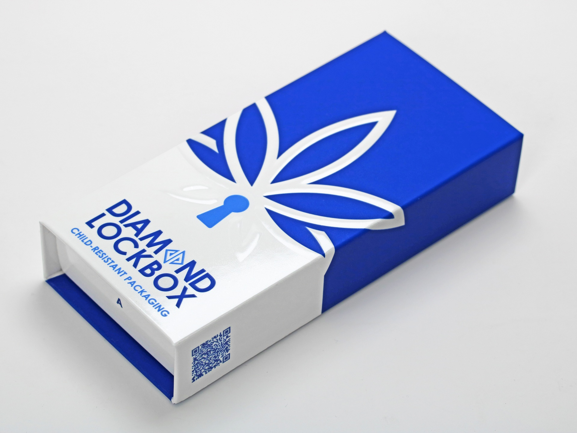 Diamond Lockbox™ Certified Child-Resistant (CR) Cannabis Packaging (blue and white with embossing and debasing)