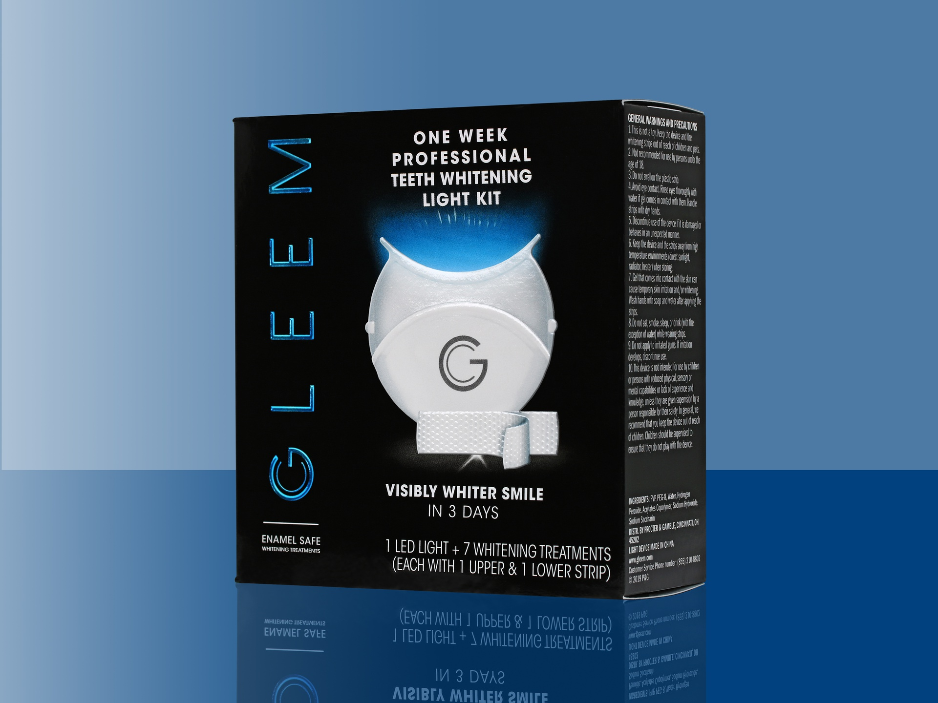 GLEEM Professional Teeth Whitening Light Kit packaging